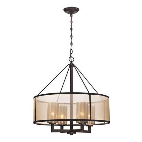 Drum Chandeliers Shop Westmore Lighting Sandbar 24 In 4 Light Rubbed Bronze Drum Chandelier At Lowes