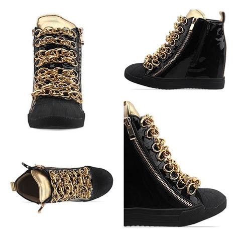 gold wedge sneaker jeffrey cbell black garish gold chain wedge sneaker