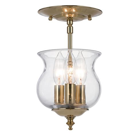 Ceiling Mount Lights by Ascott 3 Light Polished Brass Ceiling Mount With Glass