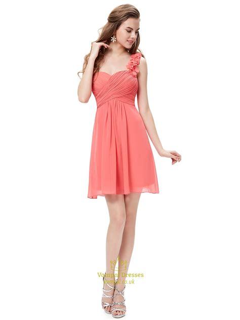 Shoulder Chiffon Dress coral chiffon one shoulder bridesmaid dress with