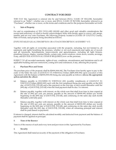 contract for deed template florida contract for deed forms and business