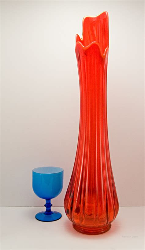 Glass Floor Vases by Retro Glass Floor Vase In Persimmon 1960 1970