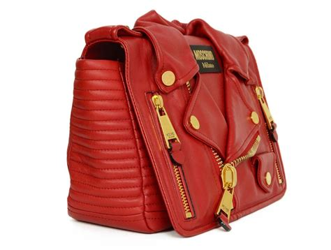 Goon Excellent L 32 moschino leather motorcycle jacket bag ghw for sale at