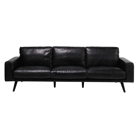 4 seater leather sofa 4 seater leather sofa in black clark maisons du monde