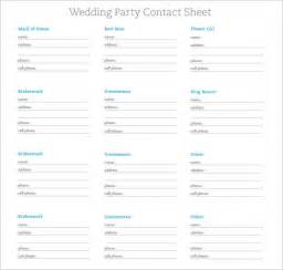 wedding information sheet template contact sheet template 7 free sles exles format