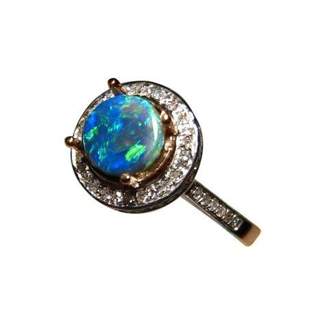 real blue opal black opal ring halo design flashopal