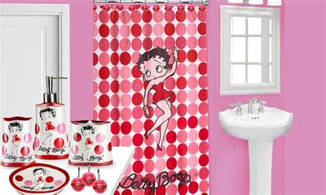betty boop shower curtain betty boop shower curtain set and bath accessories groupon