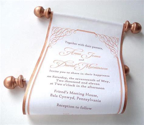 Scroll Invitations by Calligraphy Wedding Invitation Bronze Fabric Scroll