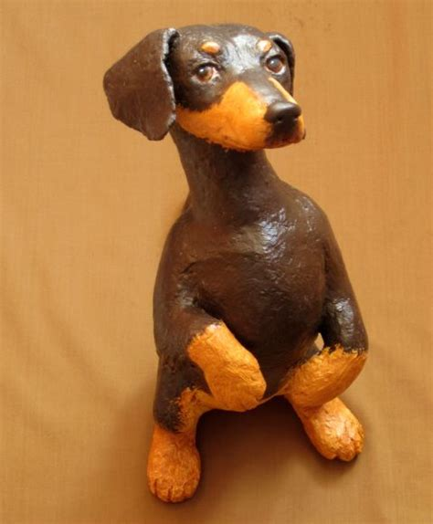 Make Animal Sculptures With Paper Mache Clay - paper mache dachshund this is the fifth project in my