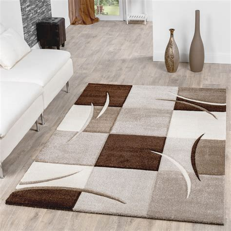 Teppich Wohnzimmer Braun by Teppich Wohnzimmer Modern Palermo Mit Konturenschnitt In