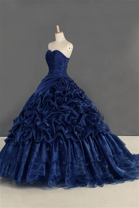 navy blue ball gown prom dress ball gown navy blue organza draped quinceanera prom dress