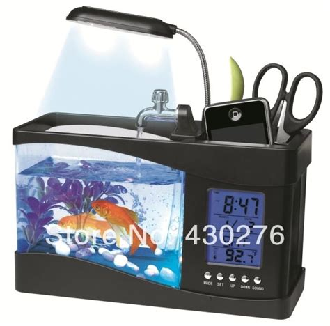 Fish Tank Desk Organizer Usb Creative Aquarium Pencil Holder Multi Functional Ecology Fish Tank Desk Organizer Office