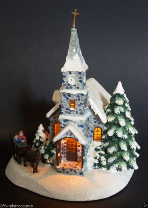 thomas kinkade christmas houses thomas kinkade village sunday evening sleigh ride cottage lighted teleflora 2003