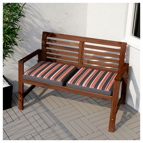 garden benches ikea 196 pplar 214 bench with backrest outdoor brown stained ikea