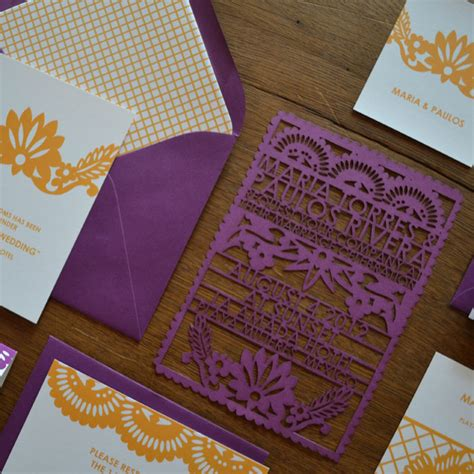 paper cutting wedding invitations papel picado wedding invitations from avie designs