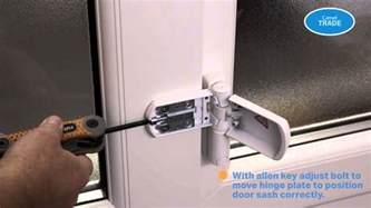 patio door adjustment how to adjust a hinge for a dropped pvc door