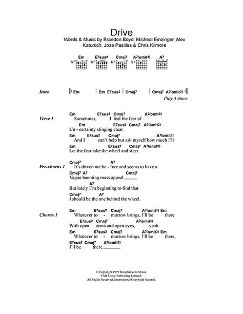 drive chord incubus drive sheet music by incubus lyrics chords 114585