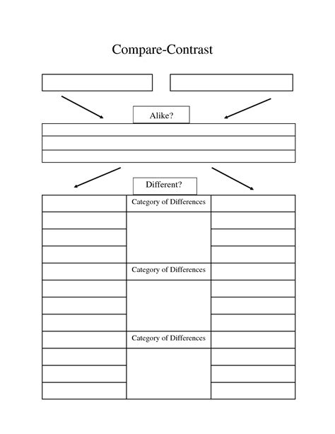 comparison graphic organizer template compare contrast essay graphic organizer compare