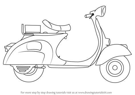 how to draw learn how to draw a scooter two wheelers step by step