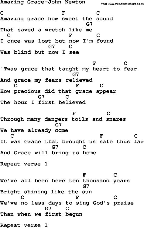 Printable Lyrics And Chords | 9 best images of amazing grace chords to words with