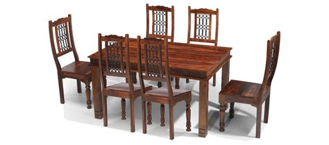 6 Chairs And Dining Table Jali Sheesham 180 Cm Chunky Dining Table And 6 Chairs Quercus Living