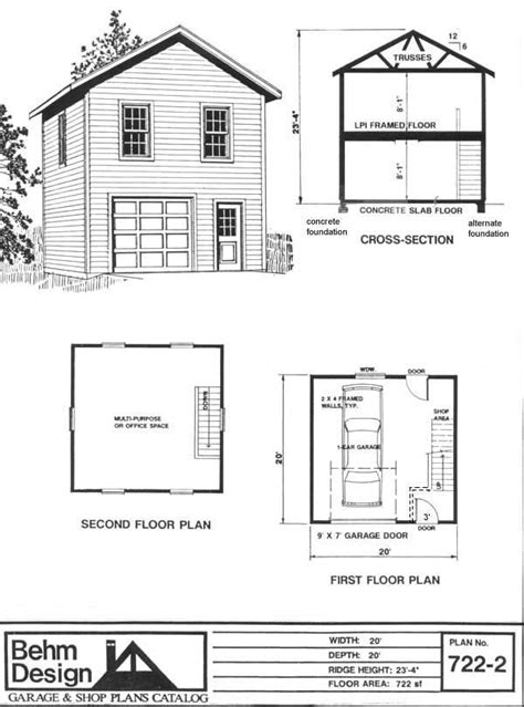 2 story garage apartment plans two story 1 car garage plan 722 2 by behm design has