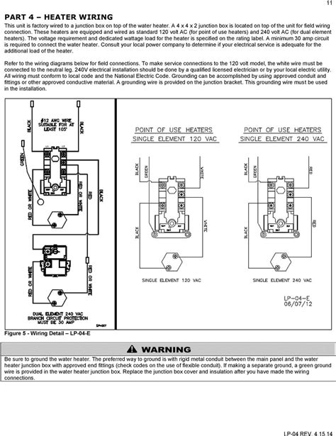 richmond 50 gallon electric water heater manual wiring