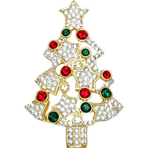 swarovski swan signed christmas tree pin brooch retired
