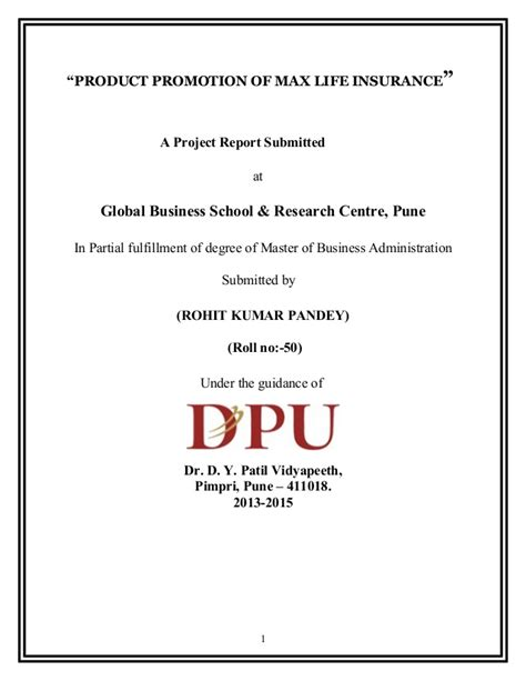 Lic Project Report For Mba by Project Report On Max Insurance 2