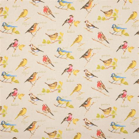 curtain fabric birds garden birds curtain fabric linen terrys fabrics uk