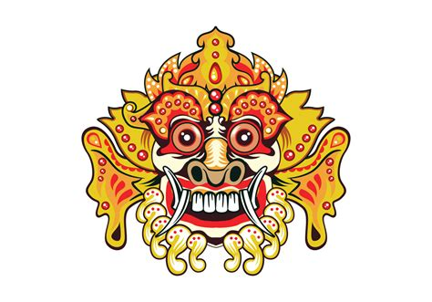 Topeng Vector bright barong mask free vector stock