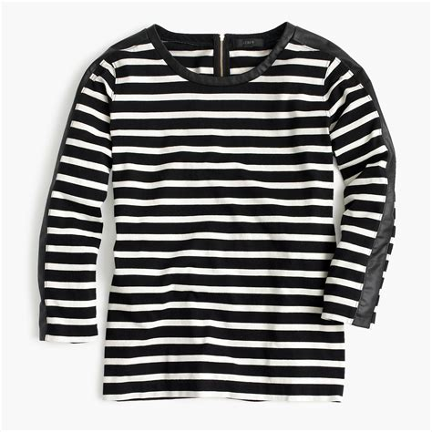 T Shirt Zipper Black striped t shirt with back zipper j crew