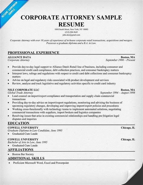corporate attorney resume exle resumecompanion com
