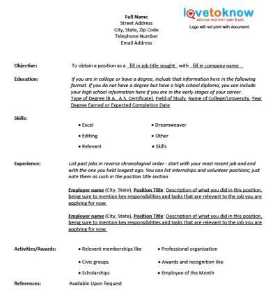 fill in information for resume