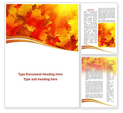 red leaves in fall word template 08841 poweredtemplate com