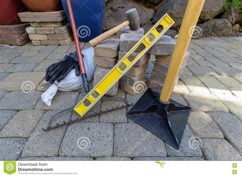 backyard design tools stone pavers and tools for landscaping stock photo image