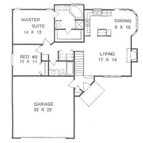 2 bedroom house plans with basement traditional style house plan 2 2 basement garage 1076 sq ft plan 58 105 floor plan