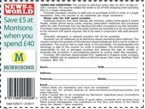 Printable Vouchers Morrisons   morrisons coupon 163 5 off 163 40 spend