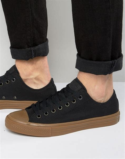 converse converse chuck all ii ox plimsolls with gum sole in black 155501c