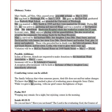 obituary templates writing an obituary with ms word format tips and