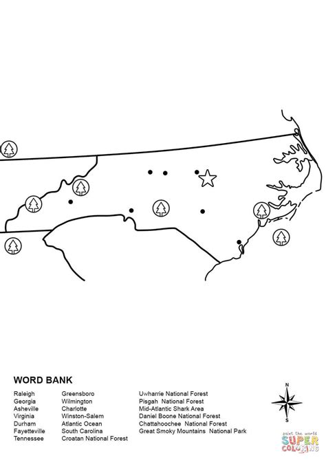 Carolina Worksheets by Carolina Map Worksheet Coloring Page Free