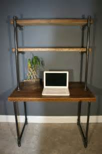 Small Desk Shelving Unit Shelving Unit Computer Desk Industrial And Modern