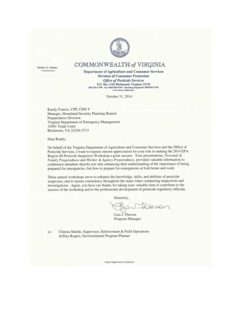 appreciation letter to department letter of appreciation from virginia department of