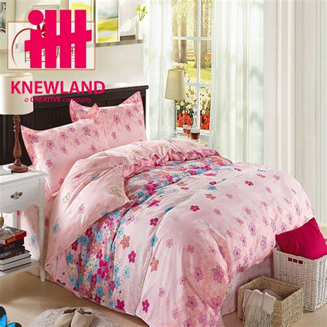 nice sheets cs010 4pcs nice flower printing bedding set bed sheet