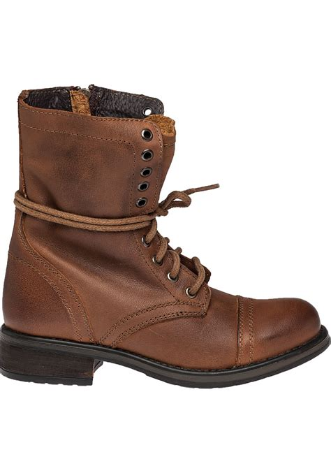lyst steve madden troopa 2 0 leather combat boots in brown