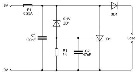 capacitor overvoltage c biscuit power crowbar protection circuit for 5v regulator
