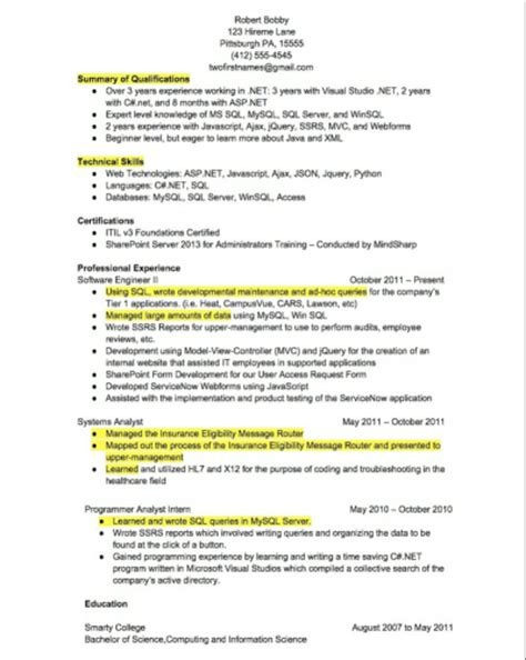 Key Points In Resume resume key points simple resume template