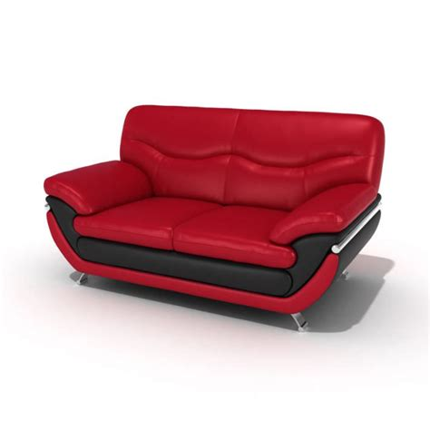 red and black leather sofa red and black leather sofa 3d model cgtrader com