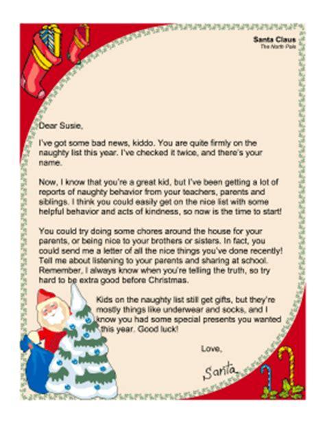 printable santa naughty letter santa letter naughty list