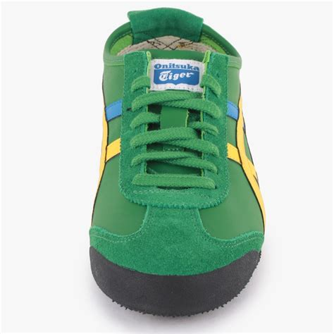 Po Onitsuka Tiger Mexico 66 Leather Yellow Green onitsuka tiger mexico 66 mens leather suede trainers green yellow